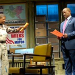 Sterling Johnson (Eugene Lee, l.) warns Harmond Wilks (Hassan El-Amin) not to tear down the house that's holding up the groundbreaking of Wilks' new development project  in the Huntington Theatre Company's production of August Wilson's <i>Radio Golf</i> at the Boston University Theatre. Part of the 2006-2007 season. Photo: Eric Antoniou.