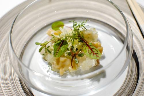 fluke sashimi, fluke fin, geoduck clam