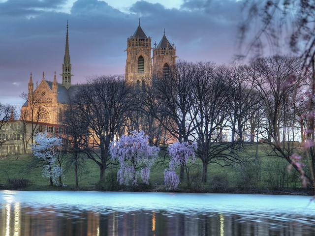 Cathedral Basilica of the Sacred Heart from Branch Brook Park, Newark NJ