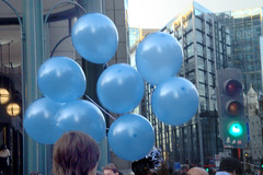Blue baloons in London  by Julie70