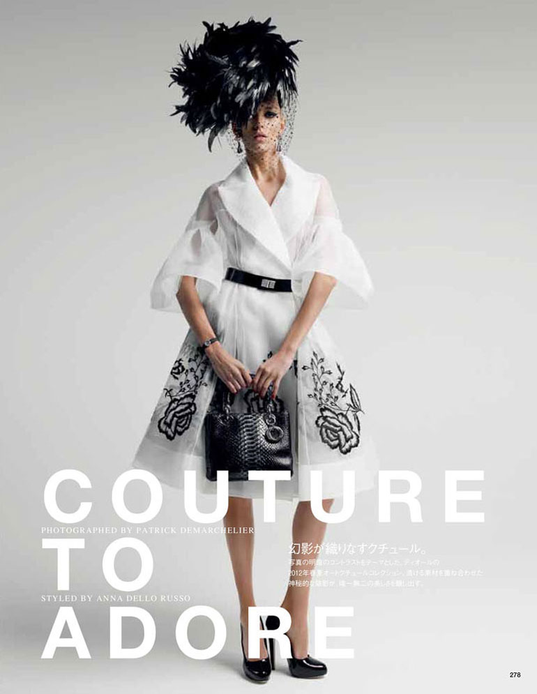 Vogue Japan, May 2012 — Couture To Adore — Anja Rubik by Patrick Demarchelier and styling by Anna Dello Russo