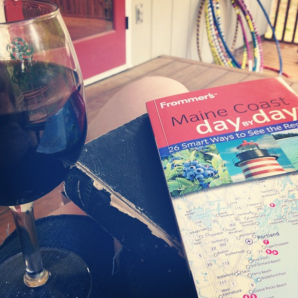 Planning our bike trip to #Maine while reading #Longfellow drinking #wine and considering #hooping