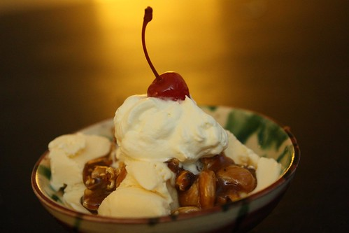 Caramel Corn Sundae with Marcona Almonds