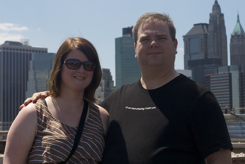 Maggie and Me standing on the Brooklyn Bridge