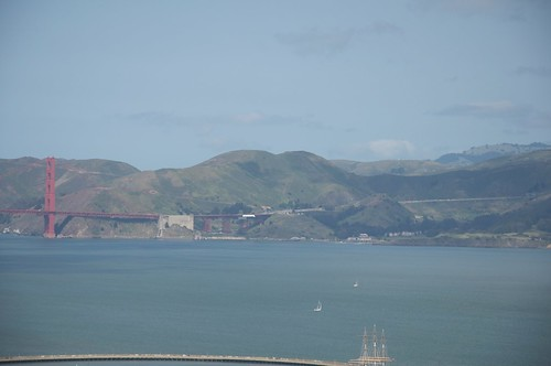 A view of the Golden Gate Bridge and Marin County from the top of the Coit Tower