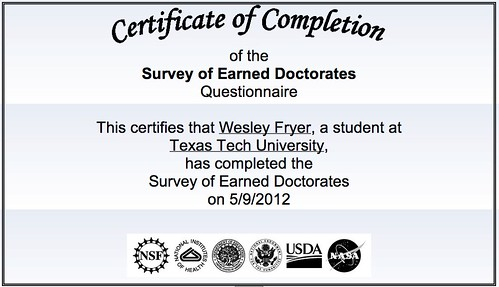 Survey of Earned Doctorates Completed
