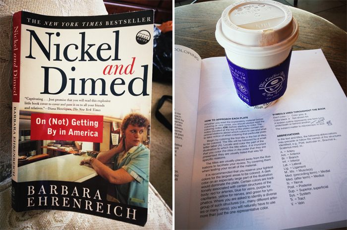 nickel and dimed book and coffee