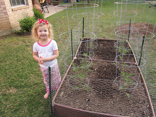 """Not to be outdone by a five-year-old in California, Claire requested to pose by """"her"""" tomatoes as well."""