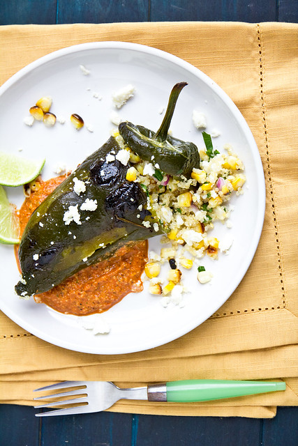 Quinoa Stuffed Poblanos with Grilled Romesco Sauce