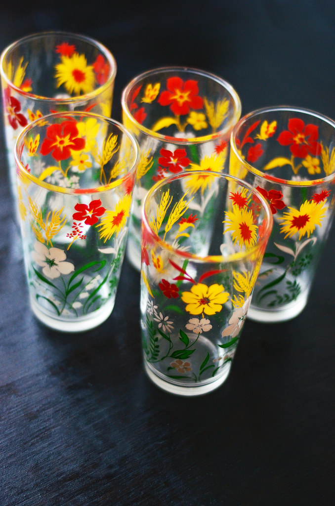 Set of 5 Vintage Flower Glasses