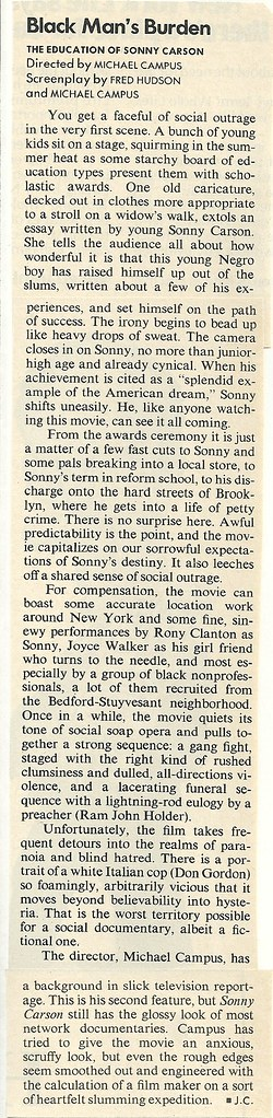 09/16/74 Time Magazine (The Education Of Sonny Carson Review)