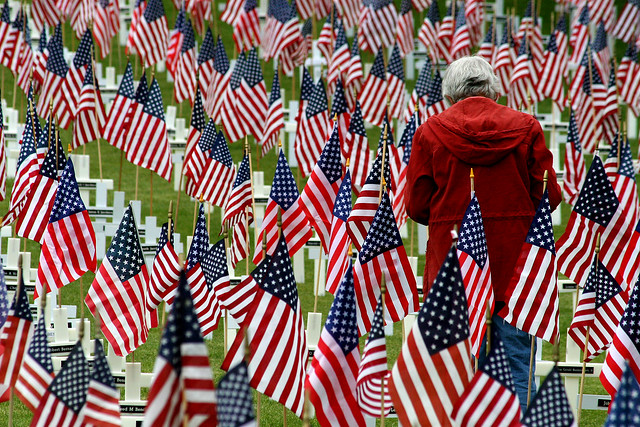 a person walks among flag-decorated gravemarkers
