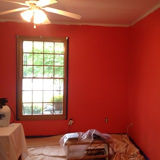 Home office makeover...color is looking bright! Dark salmon. Hope I grow to love it. Right now I'm not so sure.