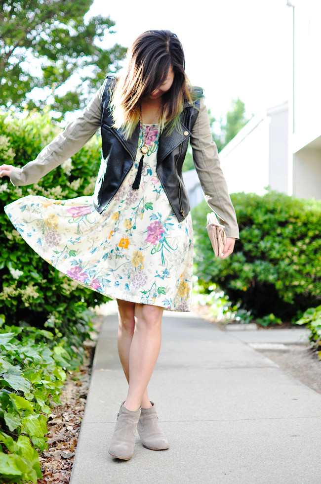 faux leather jacket with canvas sleeves {Ebay}, H&M floral tank dress {borrowed from Mom's closet}, Dolce Vita Jamison booties {Nordstroms}, blush clutch {UO}, thrifted floral tassel necklace