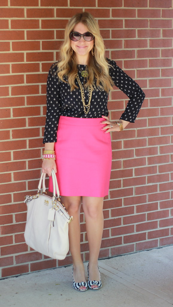 anchors and pink pencil skirt outfit