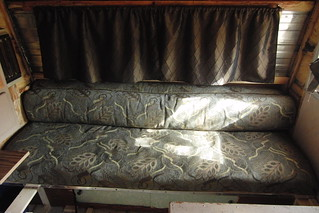 Trailer Couch/Bed and Curtains