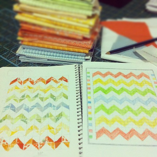 rainbow zig zag quilt layout in a visual diary