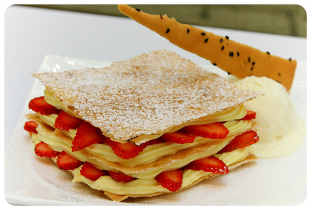 Tong Pak Fu - Strawberry Napoleon with Vanilla Ice-Cream