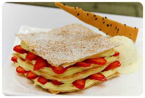 Tong Pak Fu - Strawberry Napoleon with Vanilla Ice-Cream