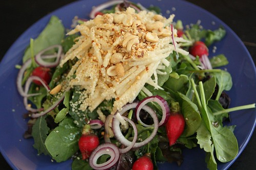 Mixed Greens Salad with Jicama, Peanut, Radish, and Rice Vinegar Dressing