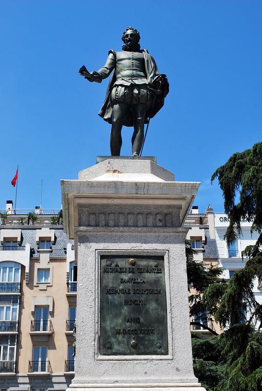Cervantes Statue, Plaza de Cortes, Barrio de las Letras, Madrid, Spain