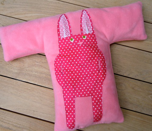 Fleece monogram bunny pillow