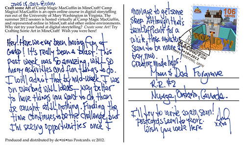 """Postcard from Camp Magic Maguffin (Back)"" by aforgrave, on Flickr"