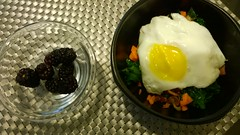 Sweet Potato Hash, topped with an egg