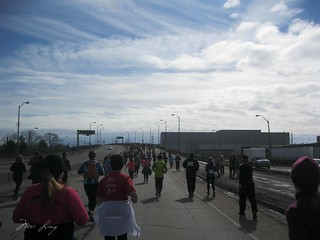 Runners headed to the second overpass.