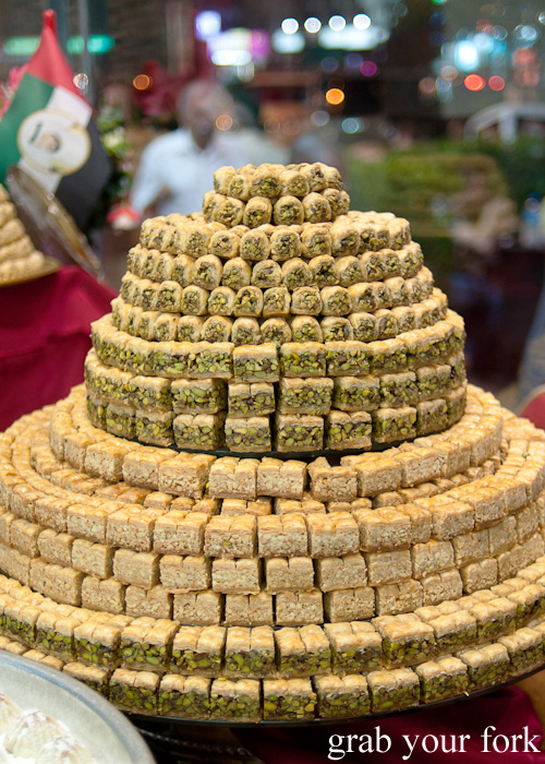 Lebanese baklava tower on a Frying Pan Adventures food tour in Dubai