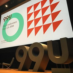 """Pretty good seats for the #99Uconf today at Lincoln Center. About to have a """"master class"""" w/ Scott Belsky. Our theme? Get Shit Done!"""