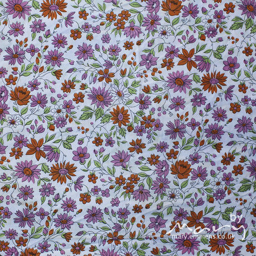 Pink and orange floral cotton