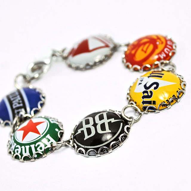 Recycled jewelry bottle cap bracelet flickr photo sharing - Beer bottle caps recyclable ...