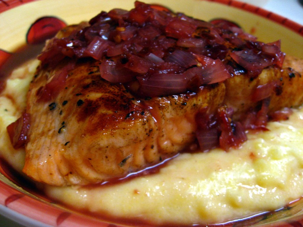 Cherry Salmon over Polenta