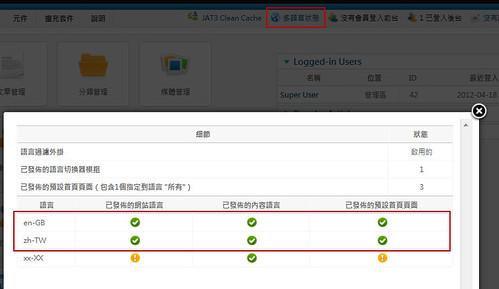 Joomla 2.5 管理區啟動「多語系狀態」