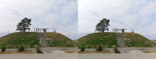 Mt. Hiyori at Yuriage, stereo parallel view