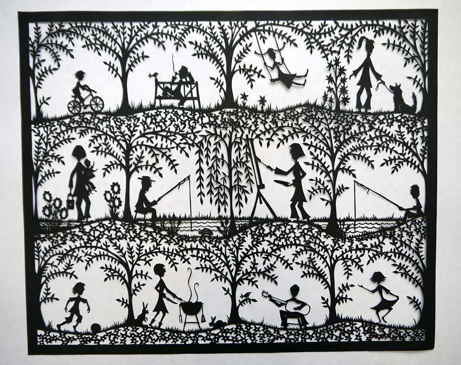 Family papercut commission
