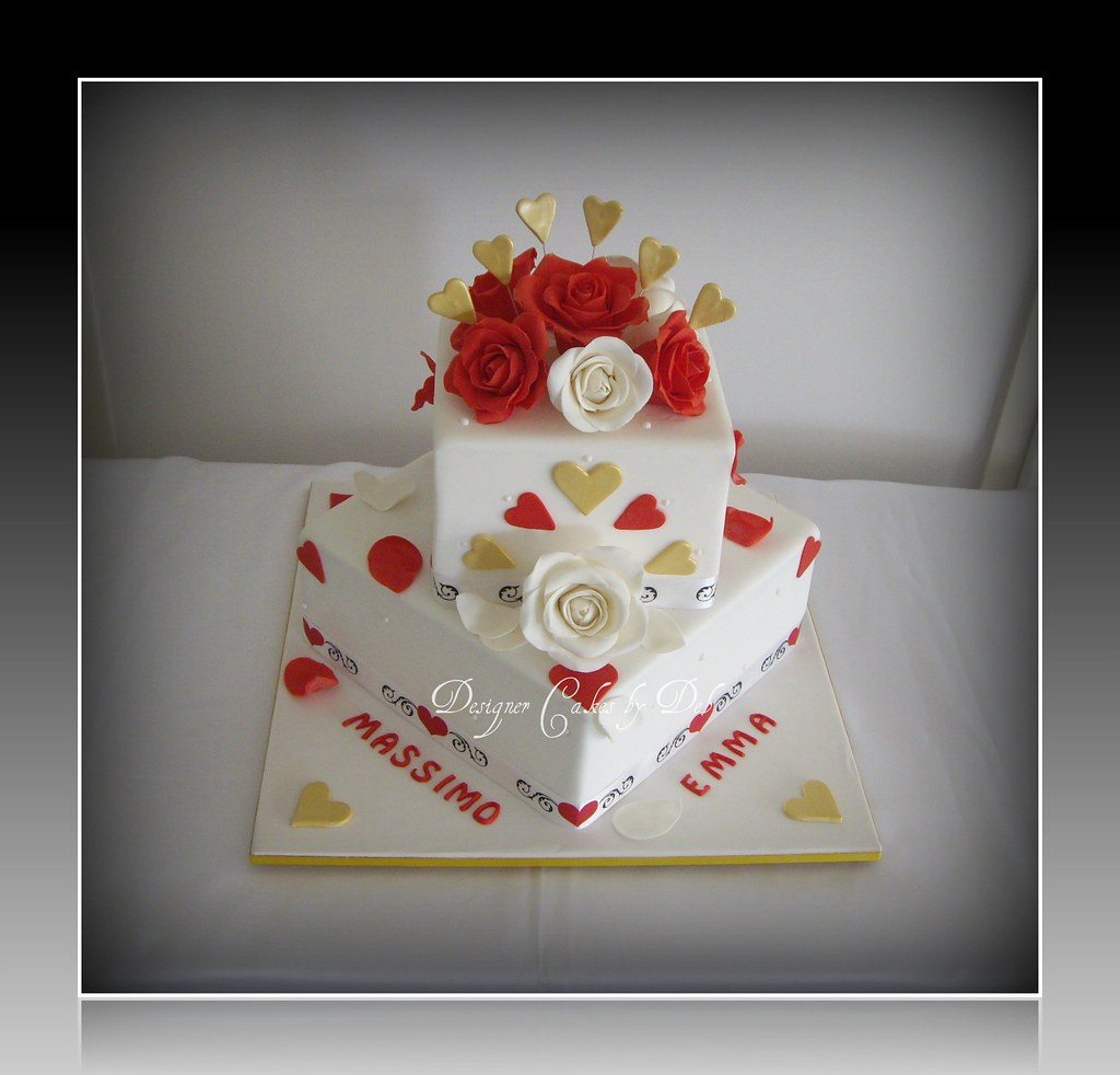 Gold And Red Wedding Cake images