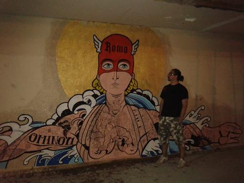 mural italia brasil day 1 wip by OMINO71