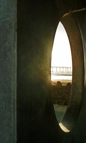 restricted oval opening newbrighton pier dawn sunrise view concrete support christchurch canterbury southisland nz newzealand flickraward daybreak sunup stevetaylor