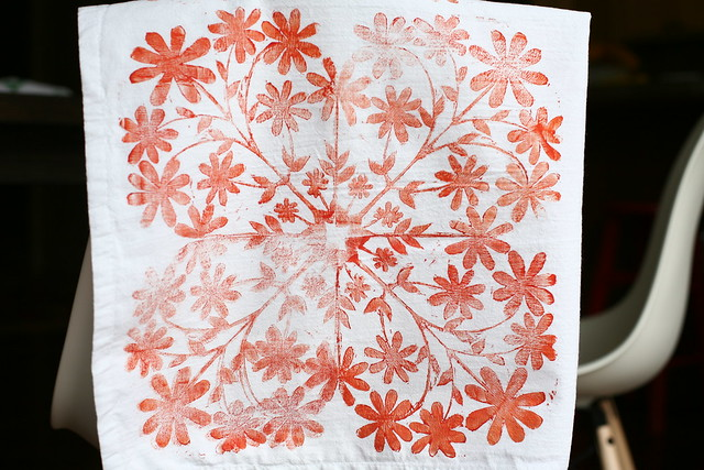 Orange Block Printed Tea Towel