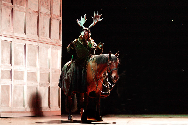 Rupert the horse with Ambrogio Maestri in rehearsals for Falstaff © Catherine Ashmore/ROH 2012