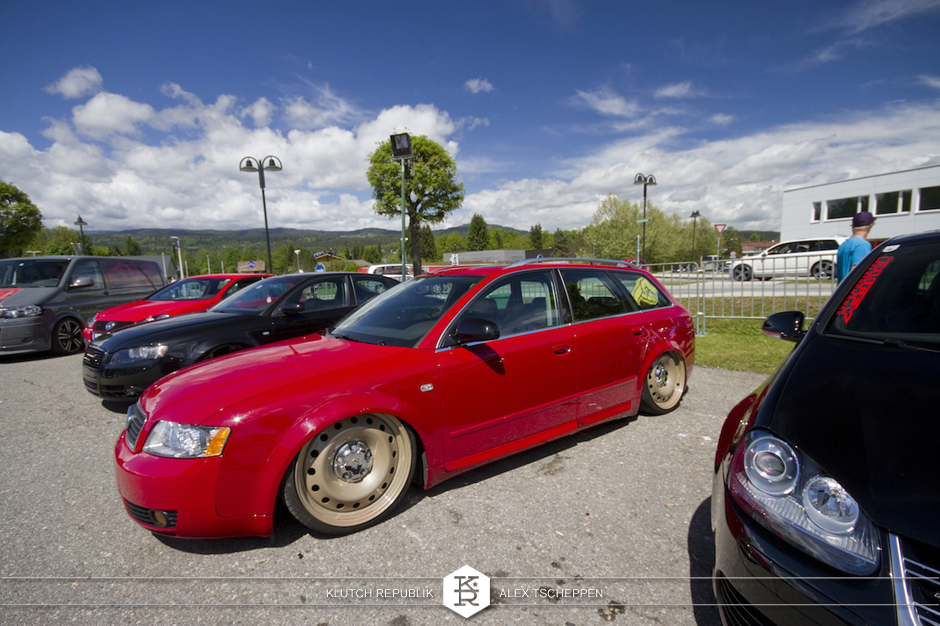 red b6 audi a4 avant on airride at worthersee gti treffen 2012