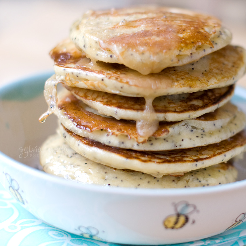 Buttermilk, lemon, and poppy seed pancakes