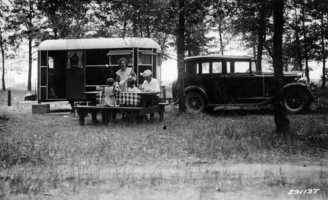 Campers at Rollways Forest Service public campground on the Huron National Forest, Michigan. July 31, 1934.  (Photographer, William L. Baker)