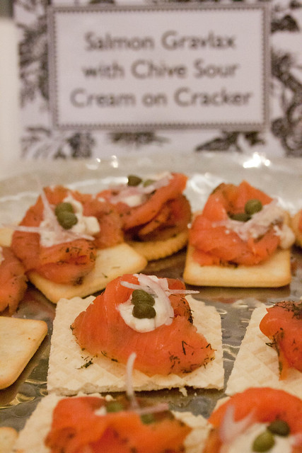 Salmon Gravlax with Chive Sour Cream on Cracker