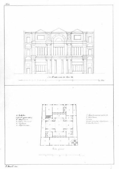 <p>Doorsnede (boven) en plattegrond van de derde verdieping (onder) van een winkelpand: onuitgevoerd ontwerp voor de manufacturenwinkel van A. Sinkel (Oudegracht Weerdzijde 7) te Utrecht. Coll. Het Utrechts Archief.</p>