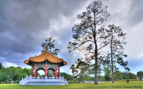 Chinese Monument over thunderstorm clouds