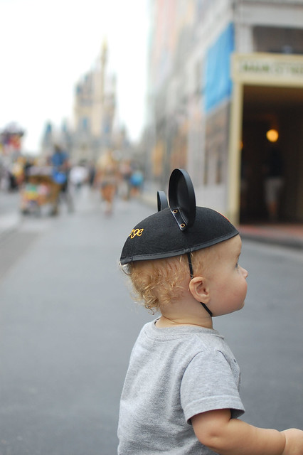 George, Mickey ears, and the castle.