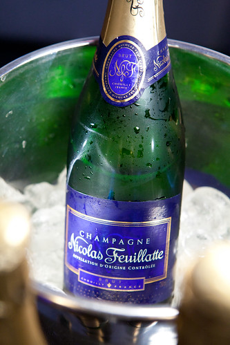 Bottle of Nicolas Feuillatte Brut NV Champagne in the ice bucket